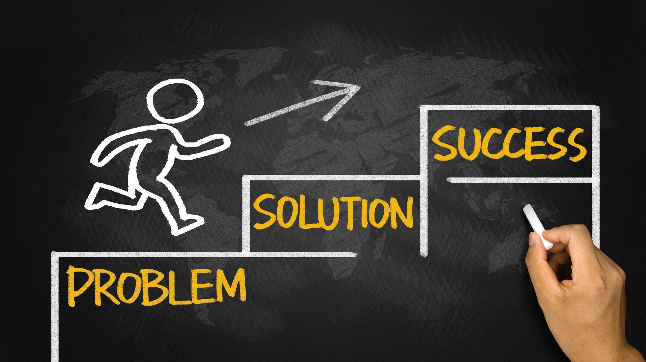 business concept:problem solution success