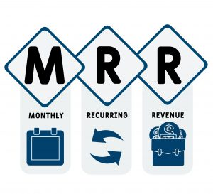 MRR - Monthly Recurring Revenue acronym, business   concept. word lettering typography design illustration with line icons and ornaments.  Internet web site promotion concept vector layout.
